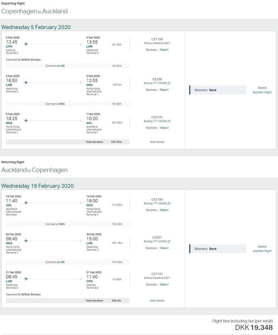 Preisbeispiel von Kopenhagen nach Auckland in der Cathay Pacific Business-Class