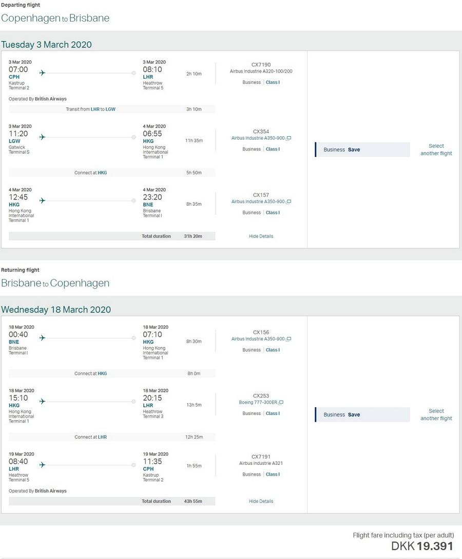 Preisbeispiel von Kopenhagen nach Brisbane in der Cathay Pacific Business-Class