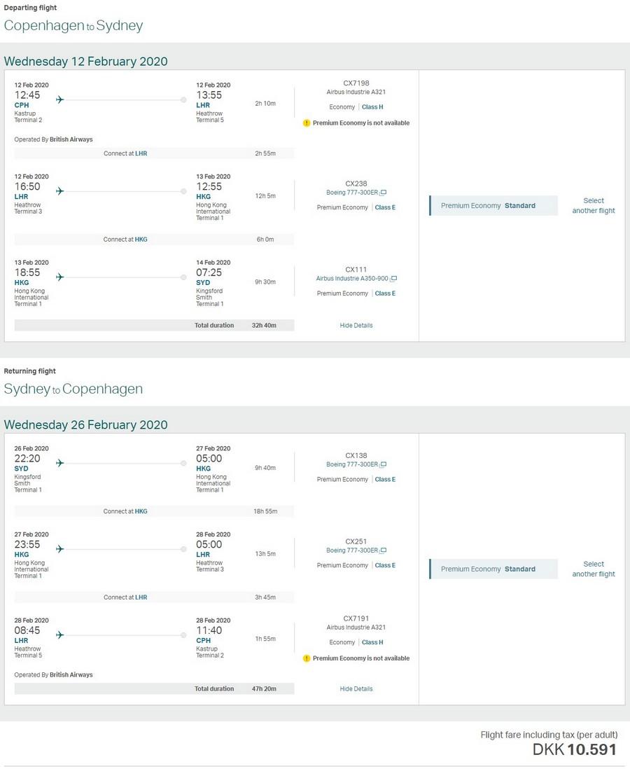 Preisbeispiel von Kopenhagen nach Sydney in der Cathay Pacific Premium-Economy-Class