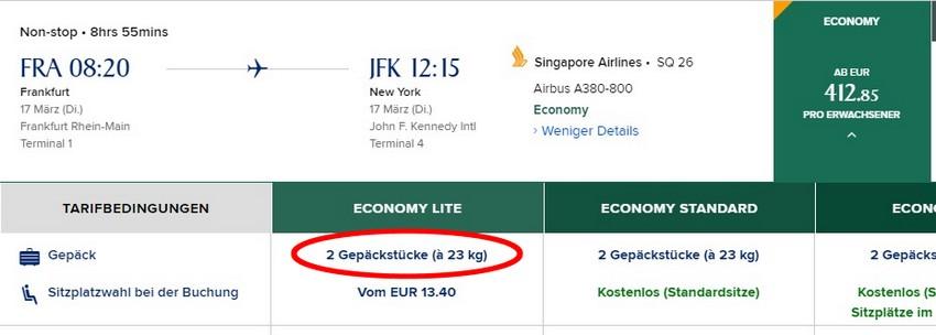 Gepäck ist bei den Flüge in der Economy-Class von Frankfurt nach New York ab 419 EUR inbegriffen