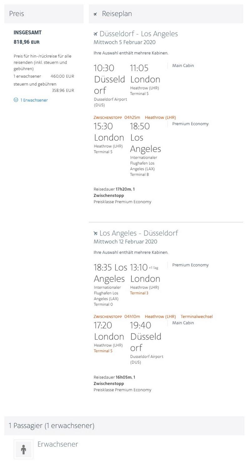 Preisbeispiel von Düsseldorf nach Los Angeles in der American Airlines Premium-Economy-Class
