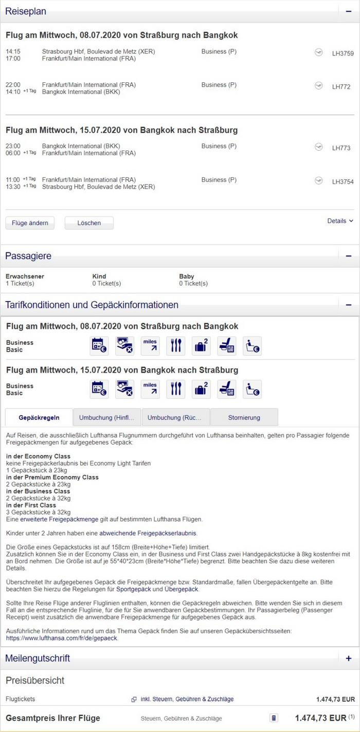 Preisbeispiel von Strasbourg nach Bangkok in der Lufthans Business-Class