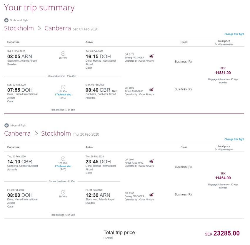 Preisbeispiel von Stockholm nach Canberra in der Qatar Airways Business-Class
