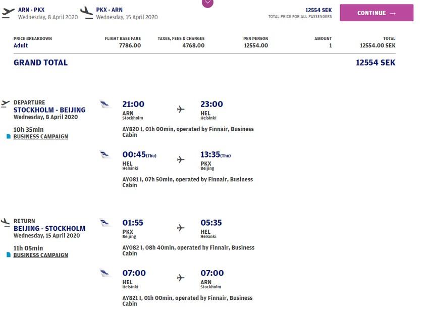 Preisbeispiel von Stockholm nach Peking in der Finnair Business-Class