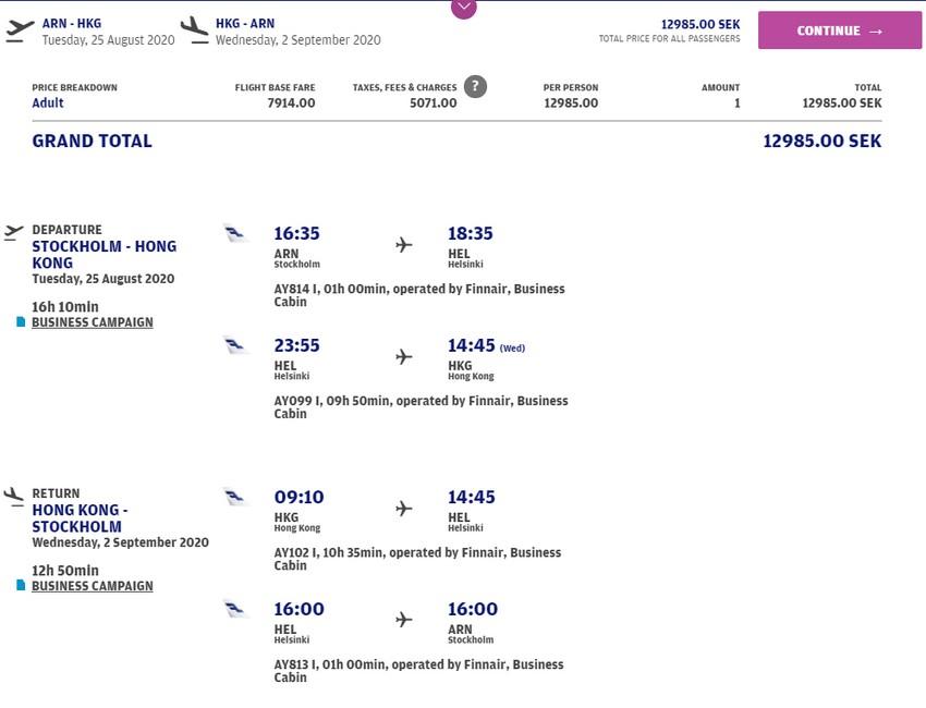 Preisbeispiel von Stockholm nach Hong Kong in der Finnair Business-Class