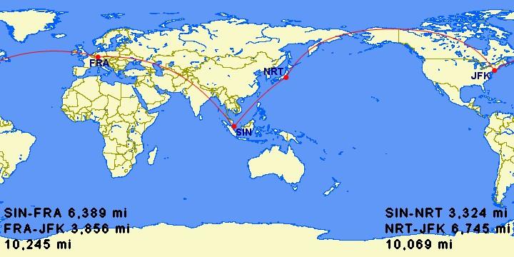 Strecken und Distanzen für SIngapore - New York