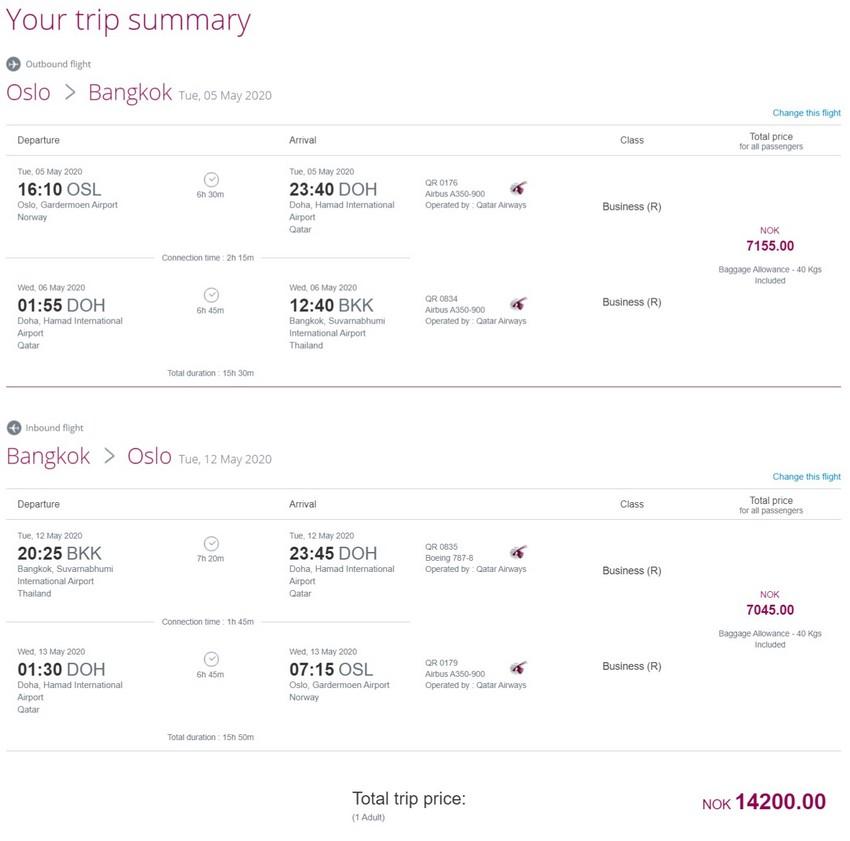 Preisbeispiel von Oslo nach Bangkok in der Qatar Airways Business-Class