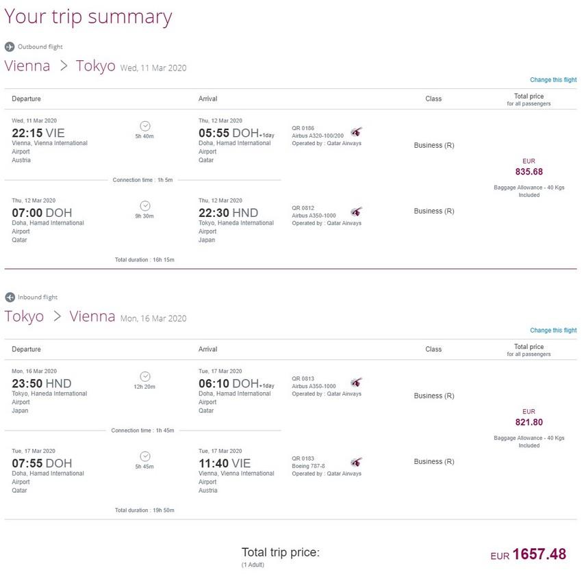 Preisbeispiel von Wien nach Tokyo in der Qatar Airways Business-Class