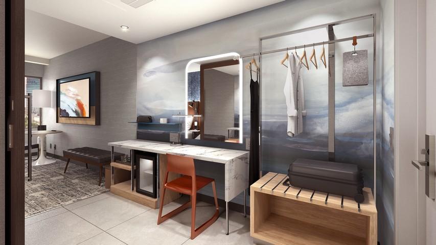 """""""Get Ready zone"""" in einem Zimmer eines Tempo by Hilton Hotel"""