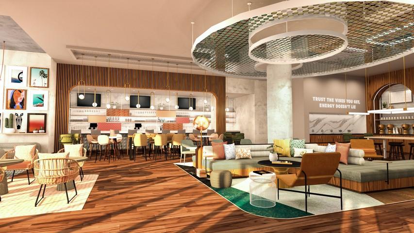 Lobby / öffentlicher Bereich mit Bar in einem Tempo by Hilton Hotel