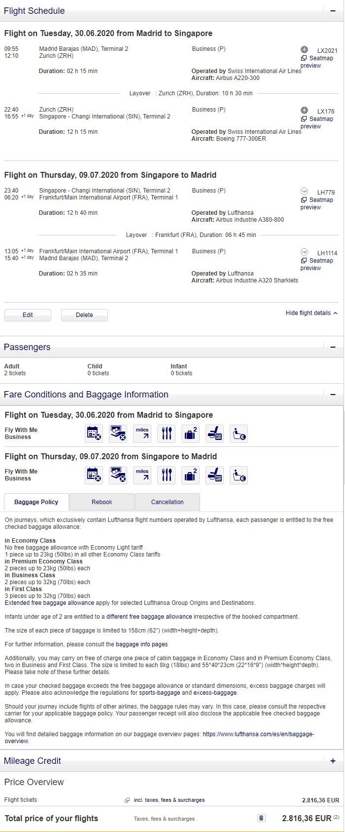 Preisbeispiel für Partnertarif von Madrid nach Singapore in der Lufthansa und Swiss Business-Class