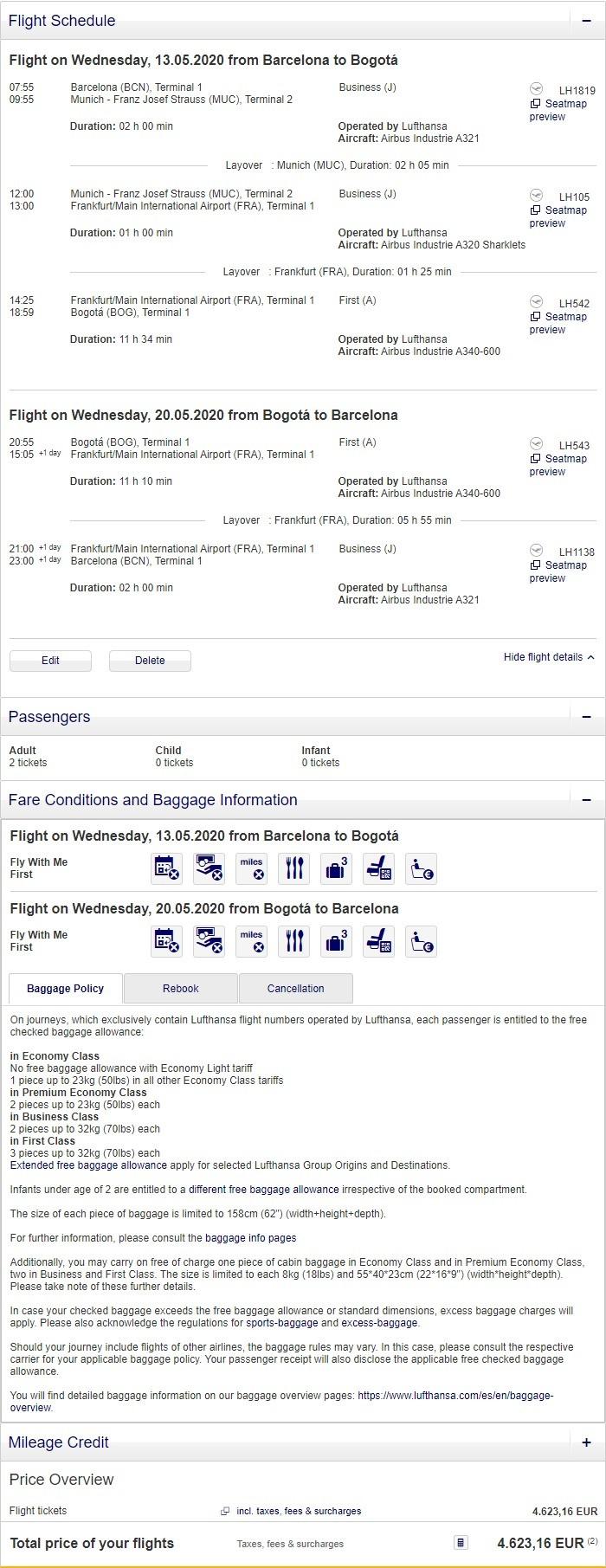 Preisbeispiel für Partnertarif von Barcelona nach Bogota in der Lufthansa First-Class