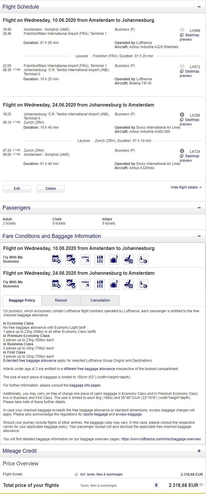 Preisbeispiel für Partnertarif von Amsterdam nach Johannesburg in der Lufthansa und Swiss Business-Class
