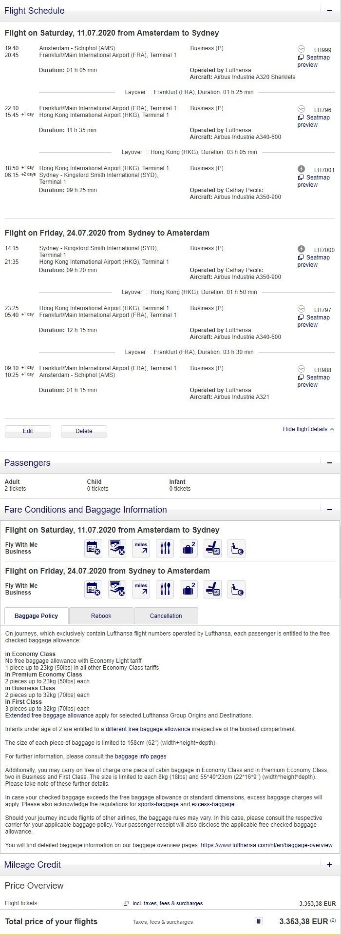 Preisbeispiel für Partnertarif von Amsterdam nach Sydney in der Lufthansa und Cathay Pacific Business-Class