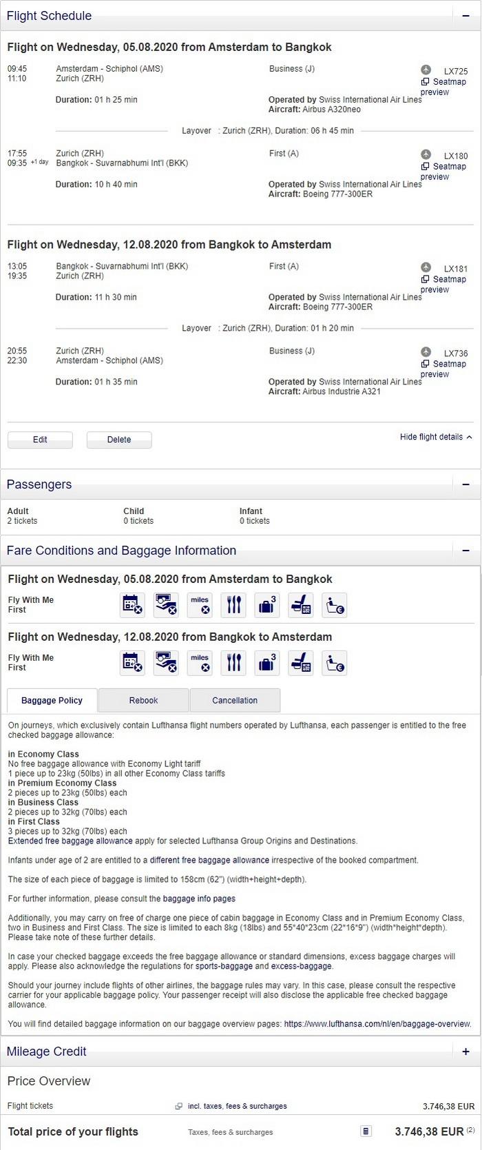 Preisbeispiel für Partnertarif von Amsterdam nach Bangkok in der Swiss First-Class