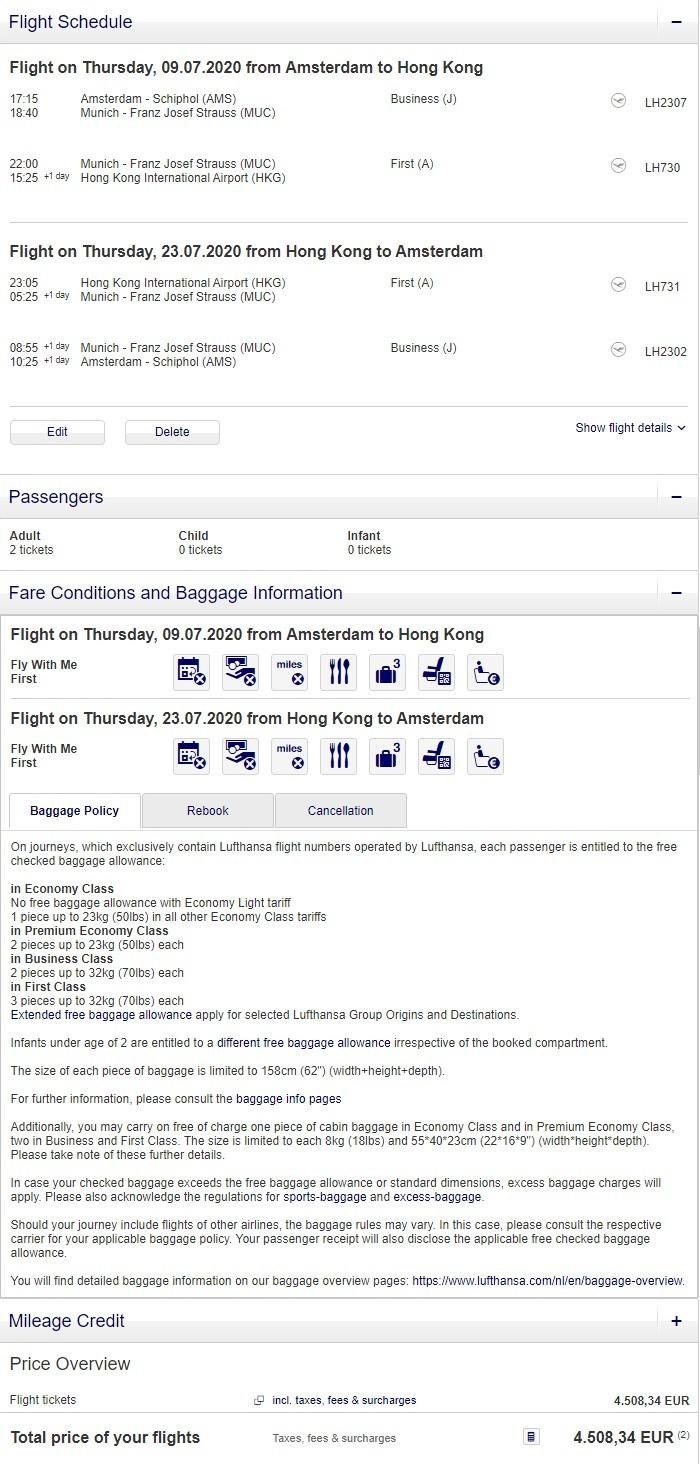 Preisbeispiel für Partnertarif von Amsterdam nach Hong Kong in der Lufthansa First-Class