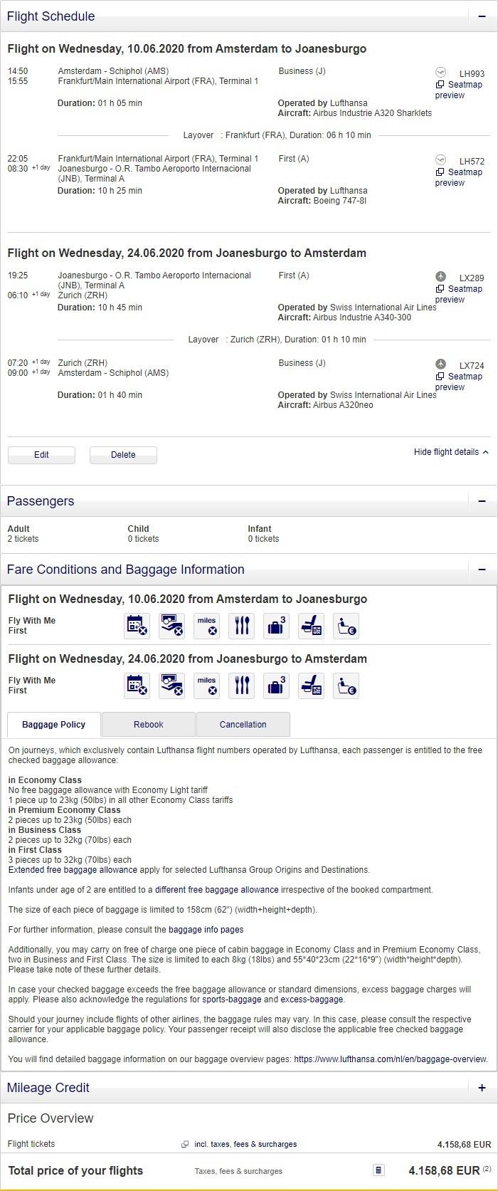 Preisbeispiel für Partnertarif von Amsterdam nach Johannesburg in der Lufthansa und Swiss First-Class