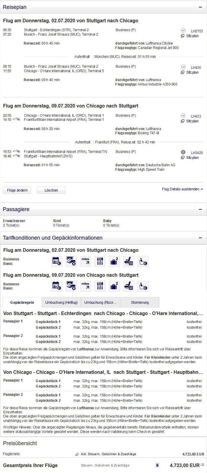 Preisbeispiel für Partnertarif von Stuttgart nach Chicago in der Lufthansa Business-Class