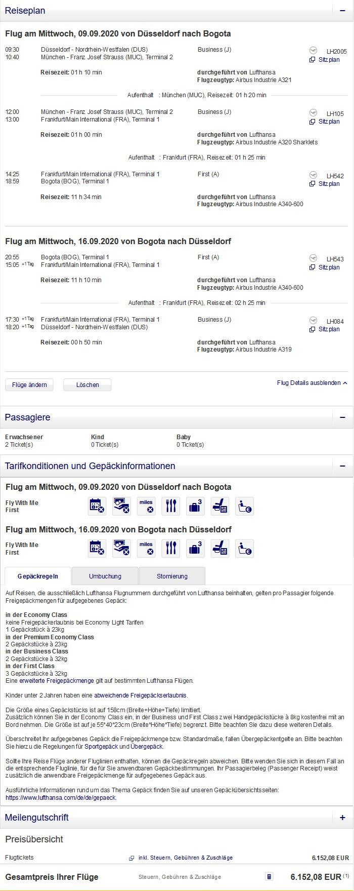 Preisbeispiel für Partnertarif von Düsseldorf nach Bogota in der Lufthansa First-Class