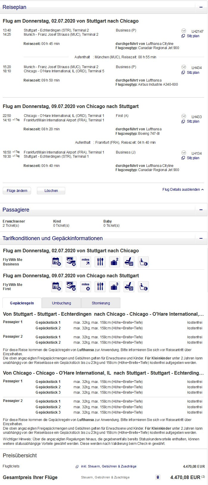 Preisbeispiel für Partnertarif von Stuttgart nach Chicago in der Lufthansa First-Class