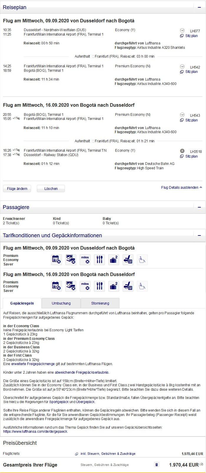 Preisbeispiel für Partnertarif von Düsseldorf nach Bogota in der Lufthansa Premium-Economy-Class