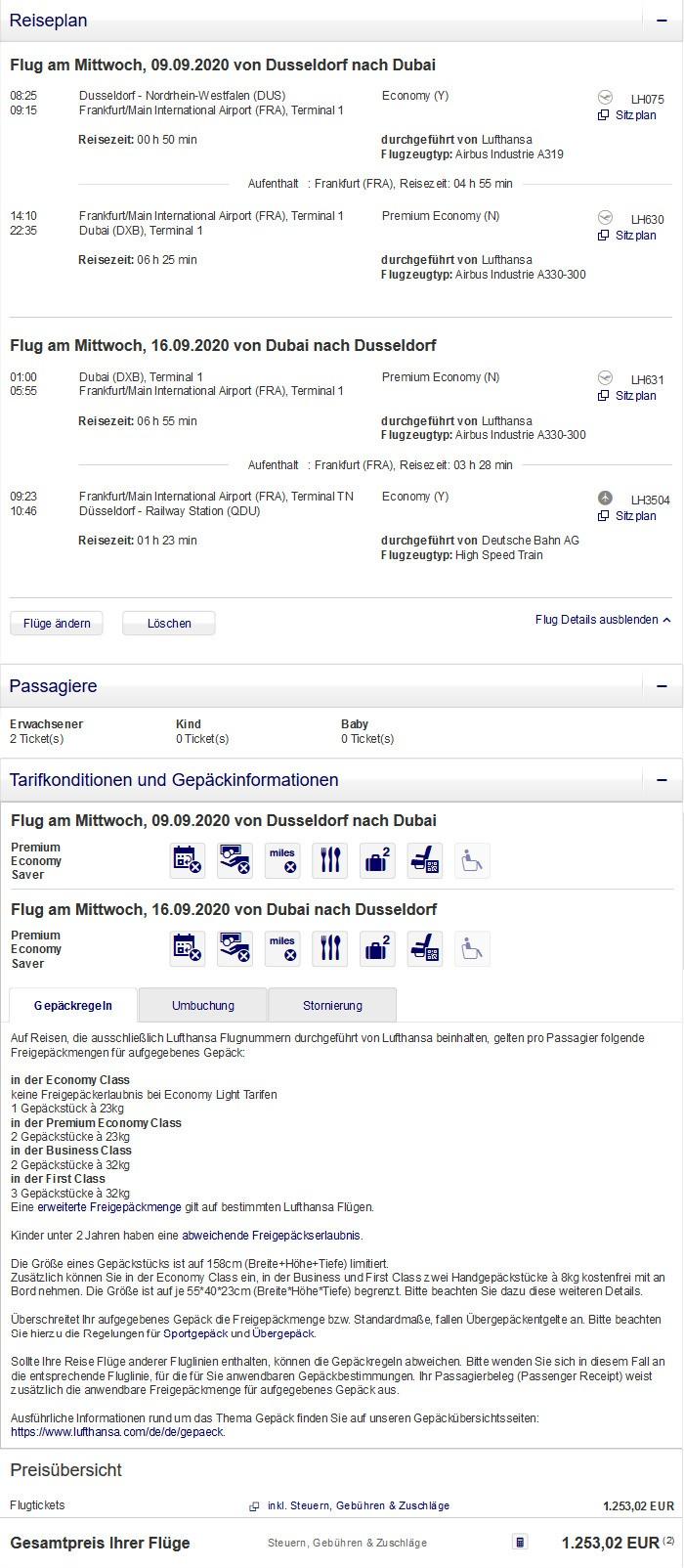 Preisbeispiel für Partnertarif von Düsseldorf nach Dubai in der Lufthansa Premium-Economy-Class