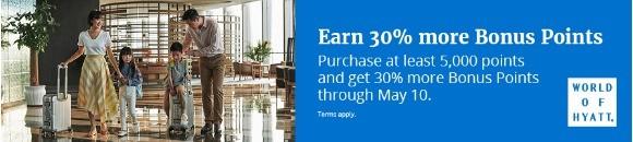 30% Bonus beim Kauf von World of Hyatt Punkten bis 10.05.2020