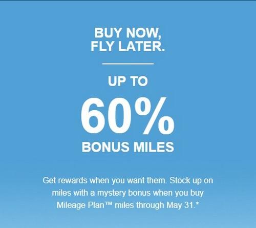 60% Bonus beim Alaska Airlines Meilenkauf bis 31.05.2020