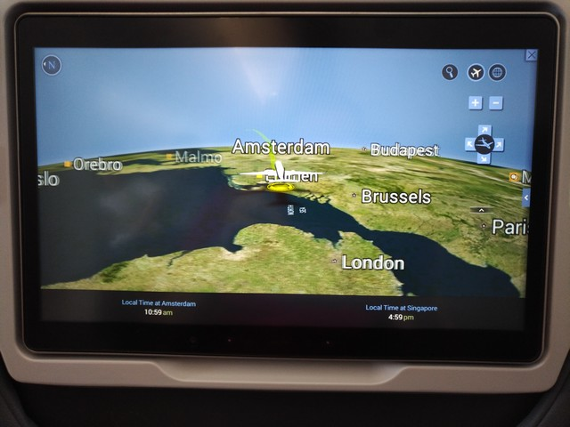 Flight Map vor dem Start / SQ323 AMS-SIN