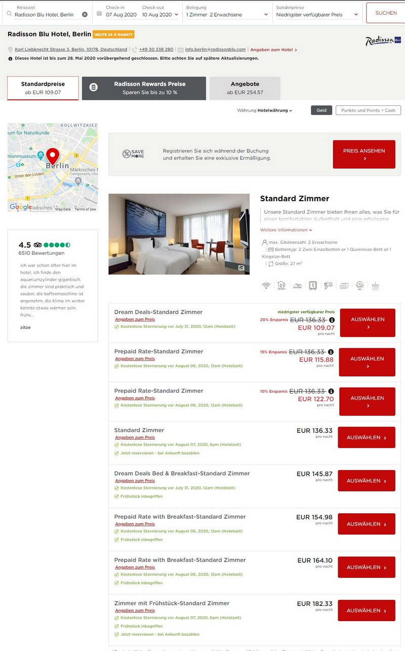 Radisson Dream Deals Raten für Nicht-Mitglieder im Radisson Blu Berlin