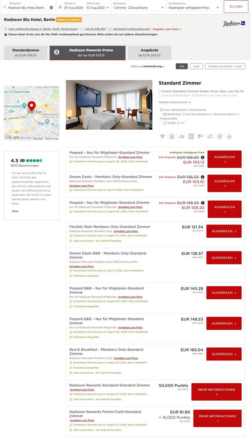 Radisson Dream Deals Raten für Rewards Mitglieder im Radisson Blu Berlin