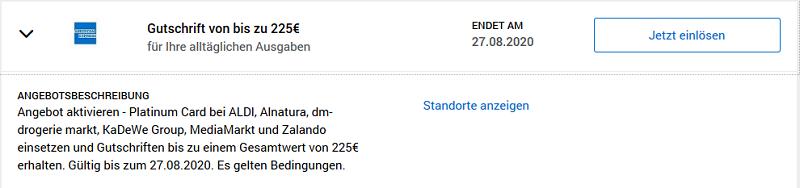 American Express Platinum Gutschrift von 225 EUR für Einkäufe