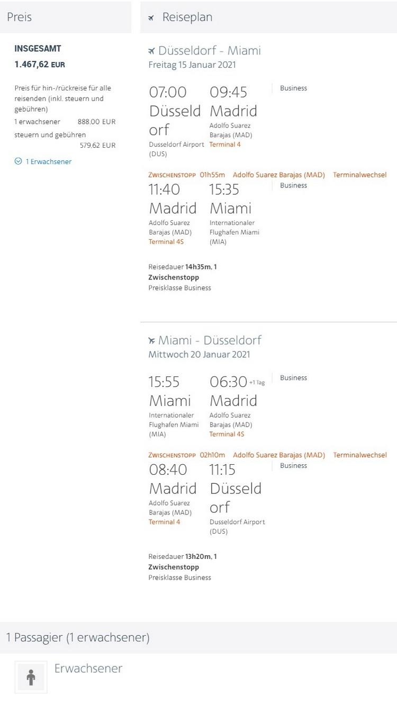 Preisbeispiel von Düsseldorf nach Miami in der American Airlines Business-Class