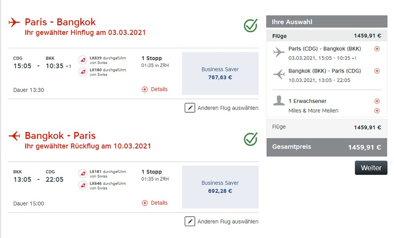 Preisbeispiel von Paris nach Bangkok in der Swiss Business-Class