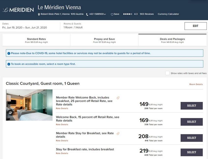 Marriott Welcome Back Raten im Sommer 2020 im Le Meridien Wien