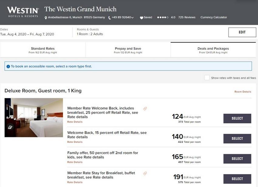 Marriott Welcome Back Raten im Sommer 2020 im Westin München