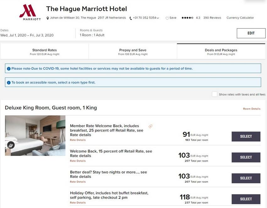 Marriott Welcome Back Raten im Sommer 2020 im Marriott The Hague