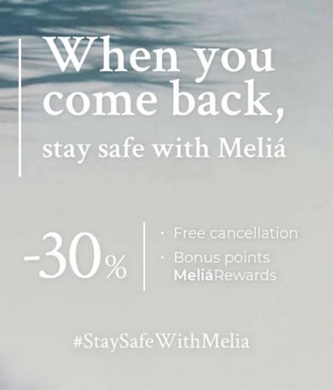Raten bei Melia mit bis zu 30% Ermäßigung für Aufenthalte bis Ende 2021