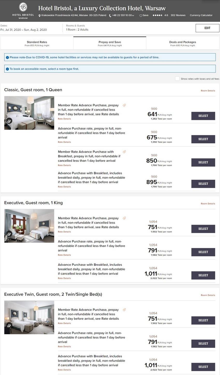 Vorausbezahlte Raten im Sommer 2020 im Hotel Bristol, a Luxuy Collection Hotel, Warschau