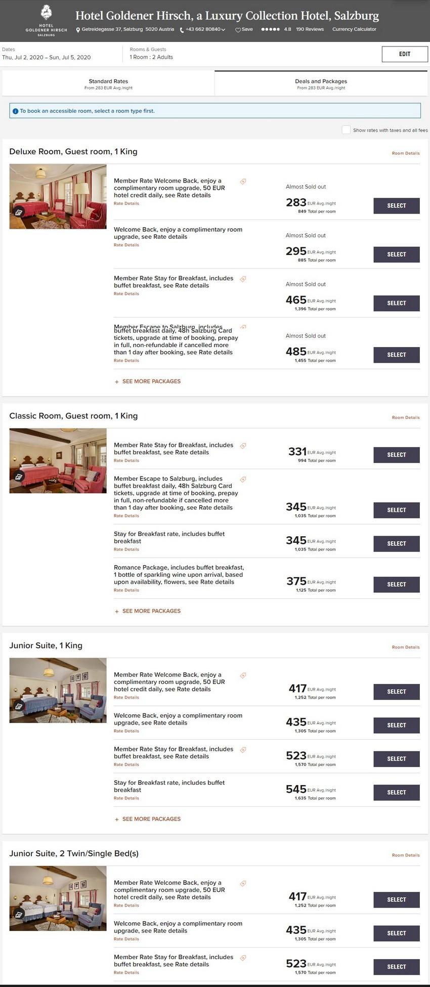 Marriott Elevate Your Stay Raten im Sommer 2020 im Hotel Goldener Hirsch, a Luxuy Collection Hotel, Salzburg
