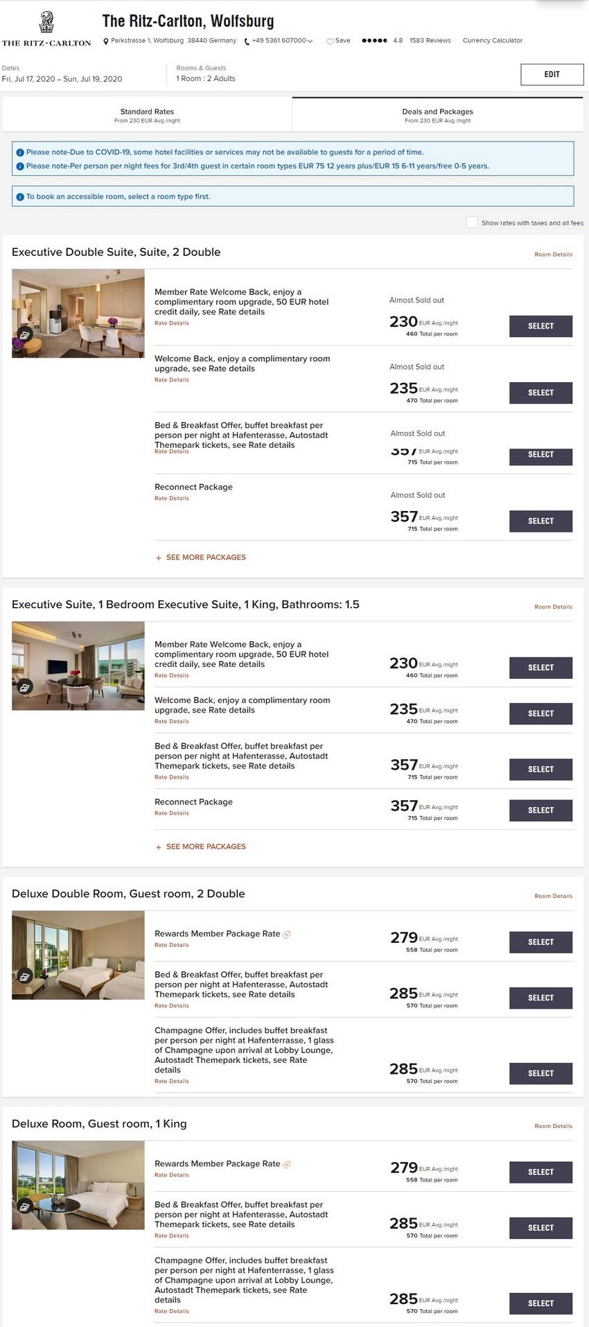 Marriott Elevate Your Stay Raten im Sommer 2020 im Ritz Carlton Wolfsburg