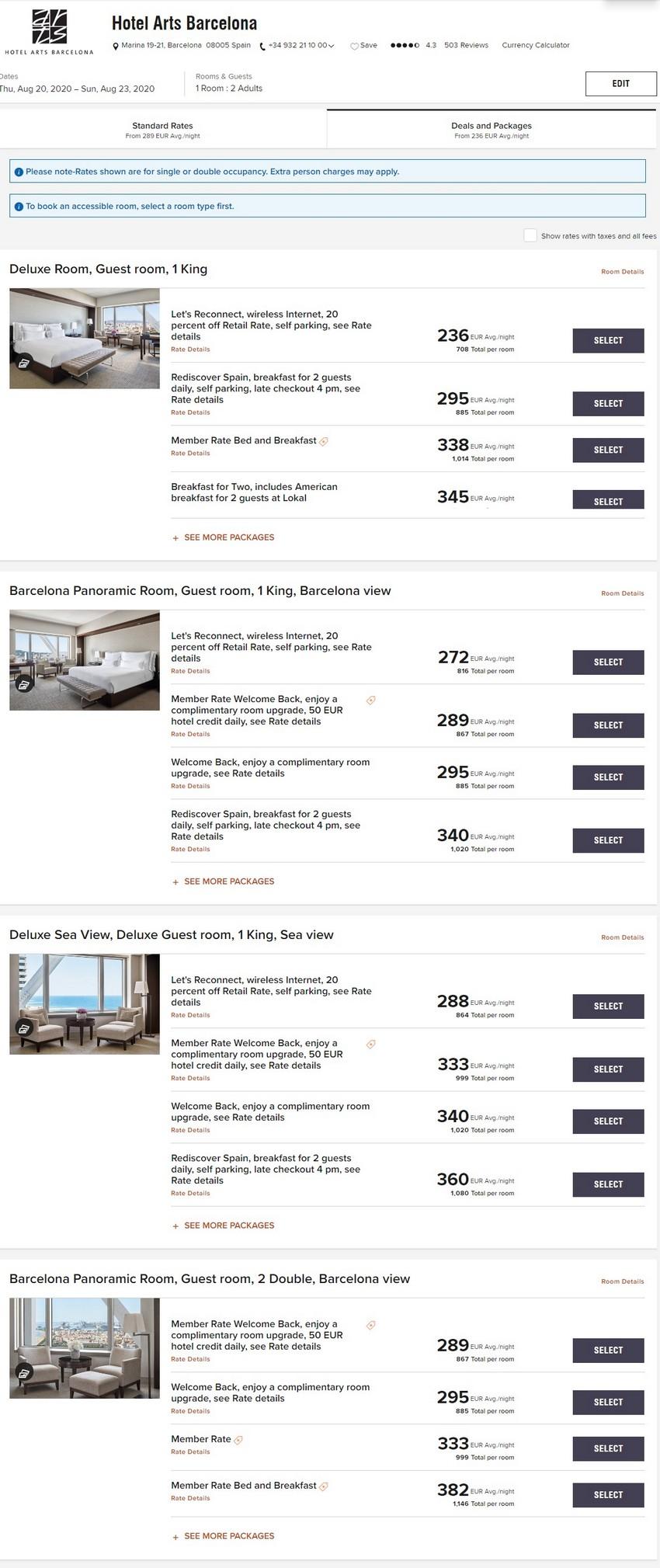 Marriott Elevate Your Stay Raten im Sommer 2020 im Hotel Arts Barcelona
