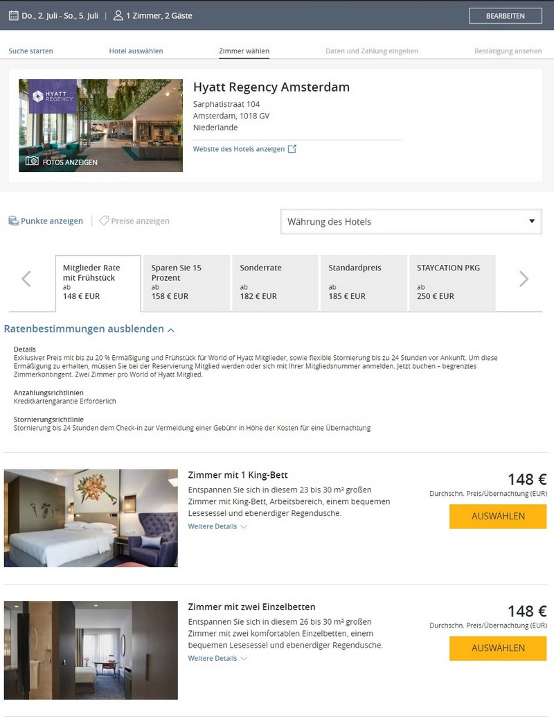 Hyatt Sonderraten für 2020 mit 20% Ersparnis im Hyatt Regency Amsterdam