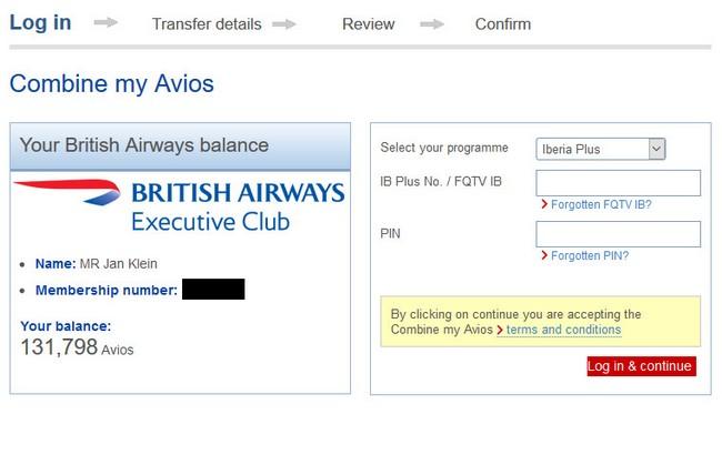 Avios von British Airways zu Iberia übertragen