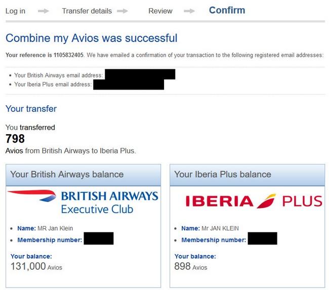 Erfolgreiche Übertragung von Avios