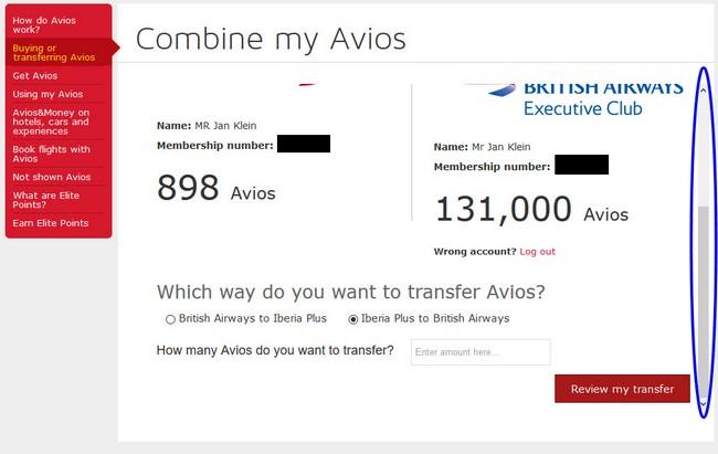 Avios von Iberia zu British Airways übertragen