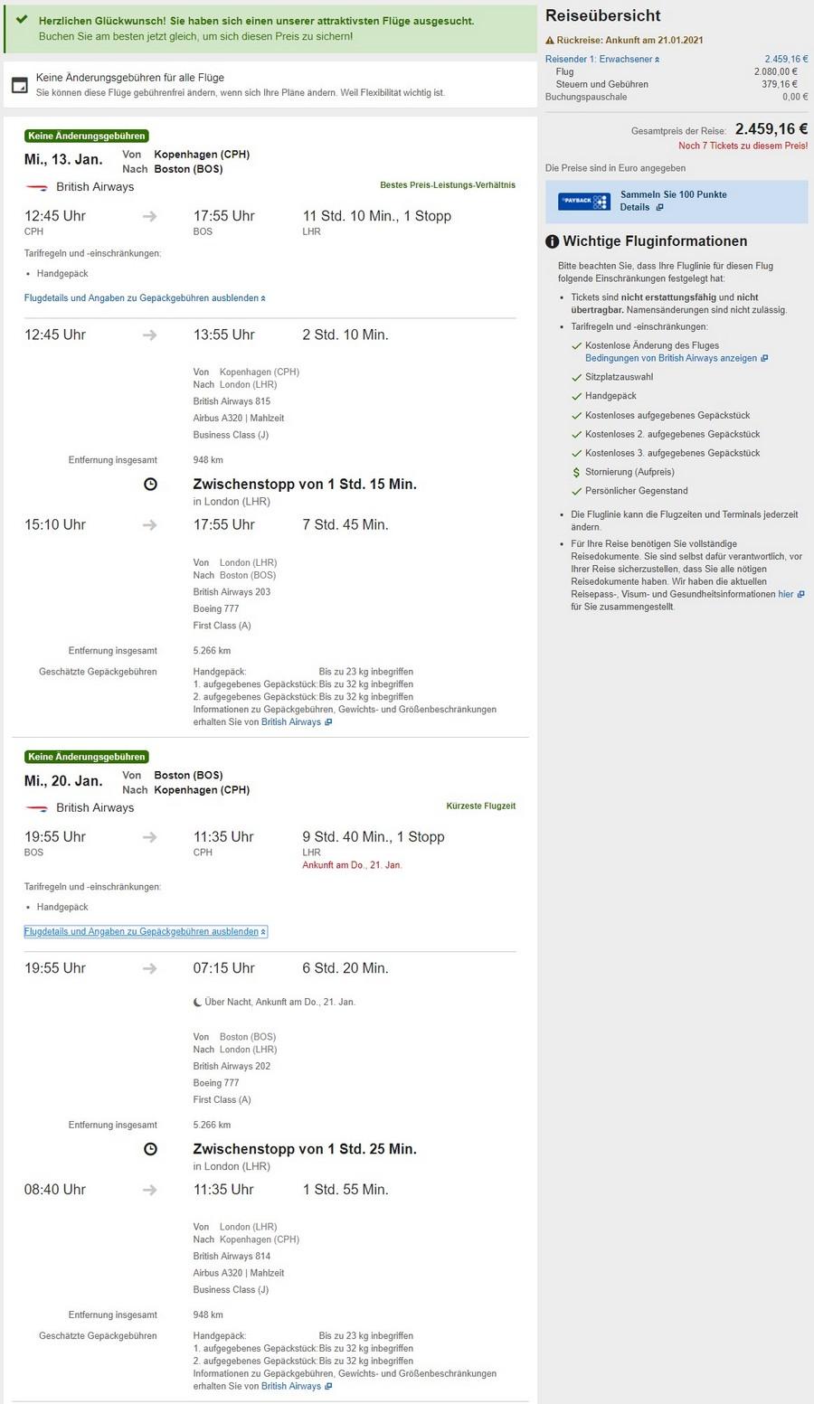 Preisbeispiel von Kopenhagen nach Boston in der British Airways Airlines First-Class auf Expedia