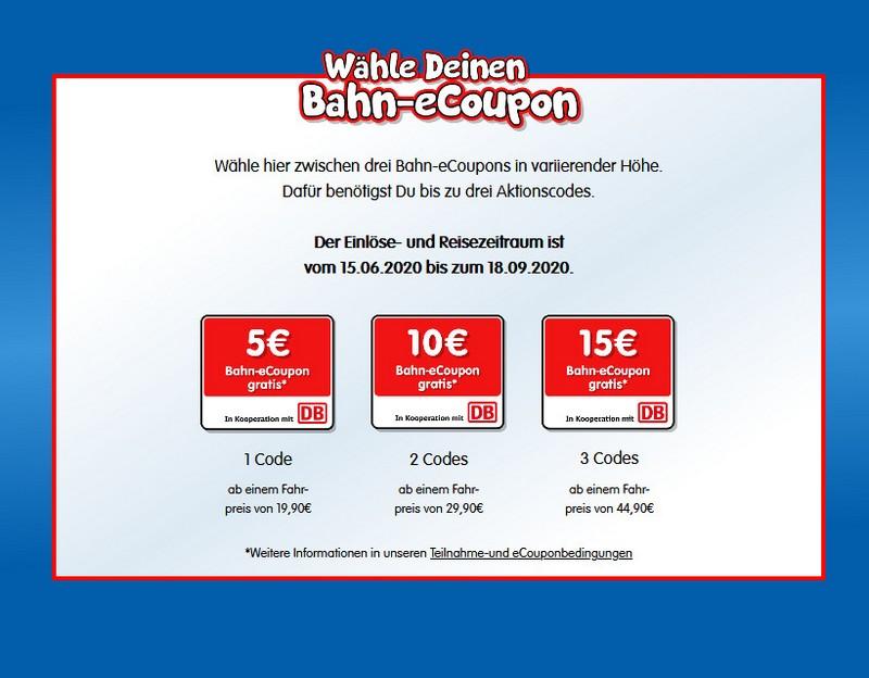 Auswahl der Gutschein Höhe bei der Haribo und Deutsche Bahn Aktion bis 18.09.2020