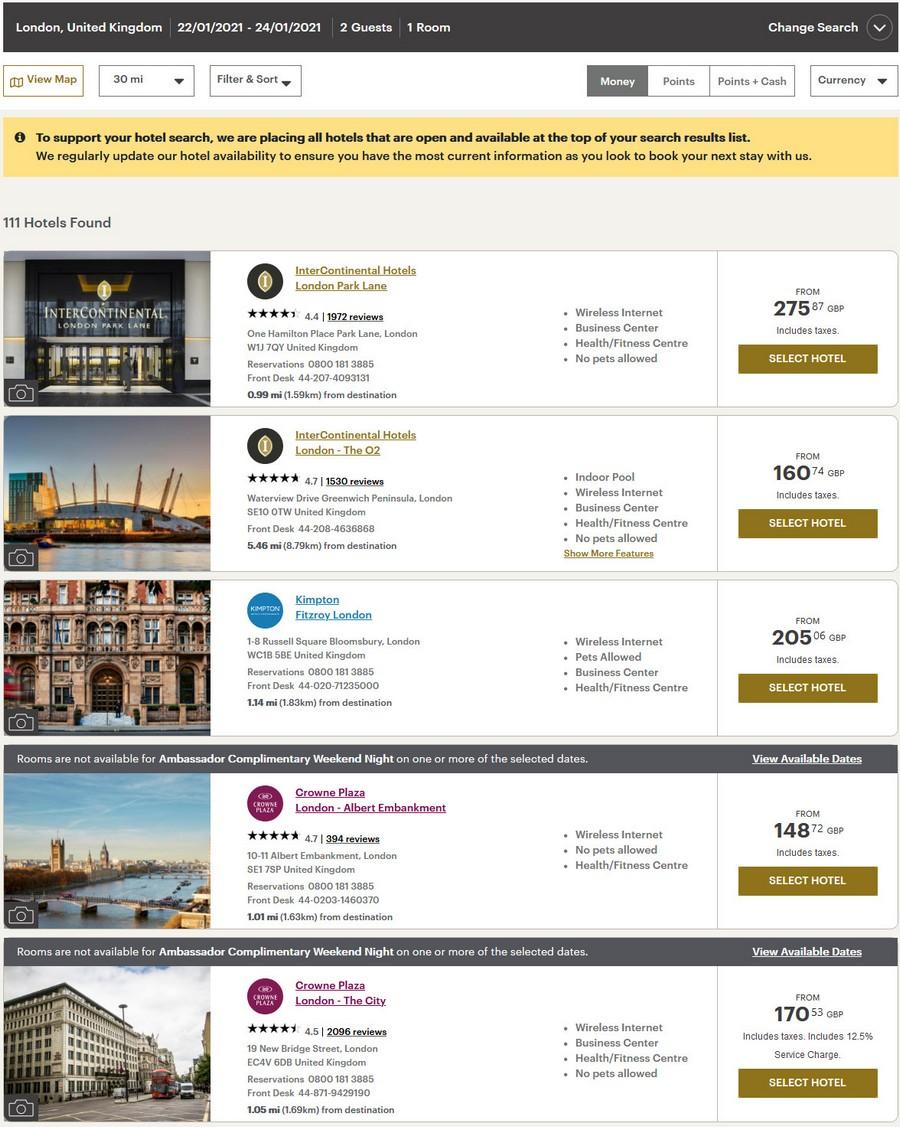Preisvergleich Ambassador Freinacht bei Kimpton und InterContinental Hotels in London