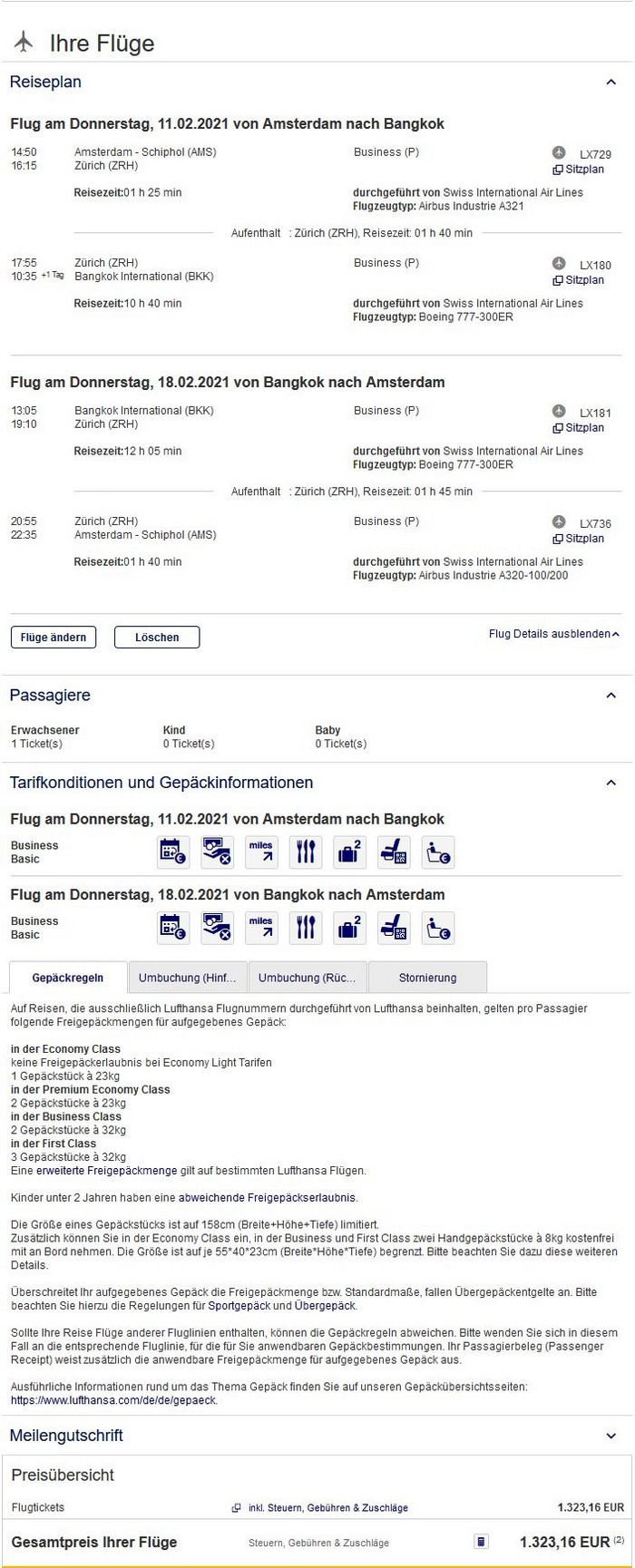 Preisbeispiel von Amsterdam nach Bangkok in der Swiss Business-Class